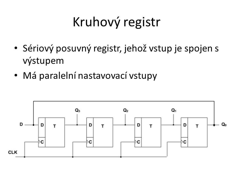 Kruhový registr Sériový posuvný registr, jehož vstup je spojen s výstupem.