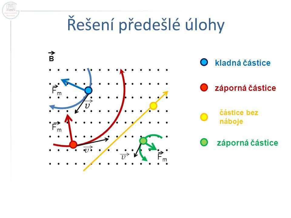 Řešení předešlé úlohy v kladná částice záporná částice Fm
