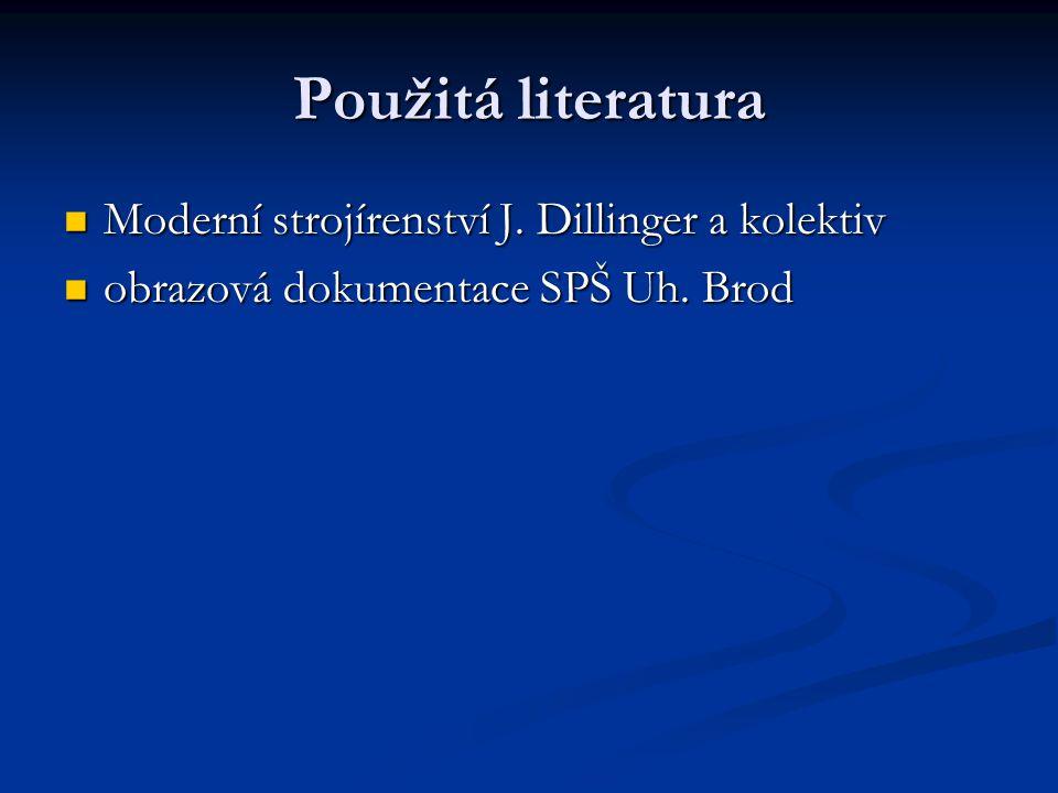 Použitá literatura Moderní strojírenství J. Dillinger a kolektiv