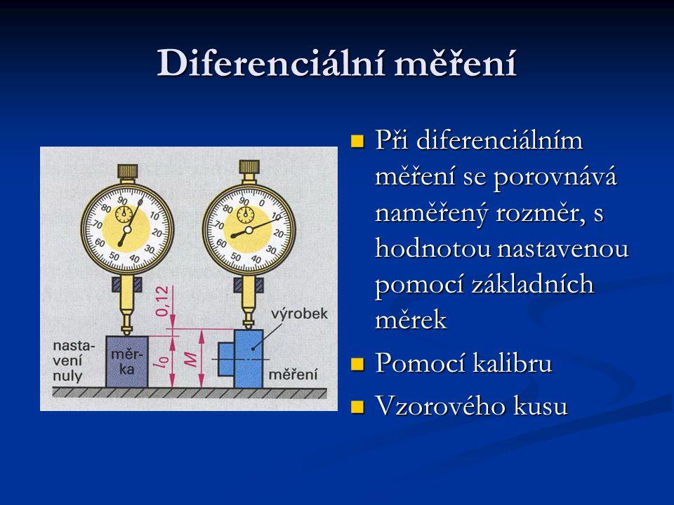 Diferenciální měření Při diferenciálním měření se porovnává naměřený rozměr, s hodnotou nastavenou pomocí základních měrek.