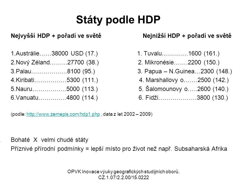 Státy podle HDP Nejvyšší HDP + pořadí ve světě Nejnižší HDP + pořadí ve světě.