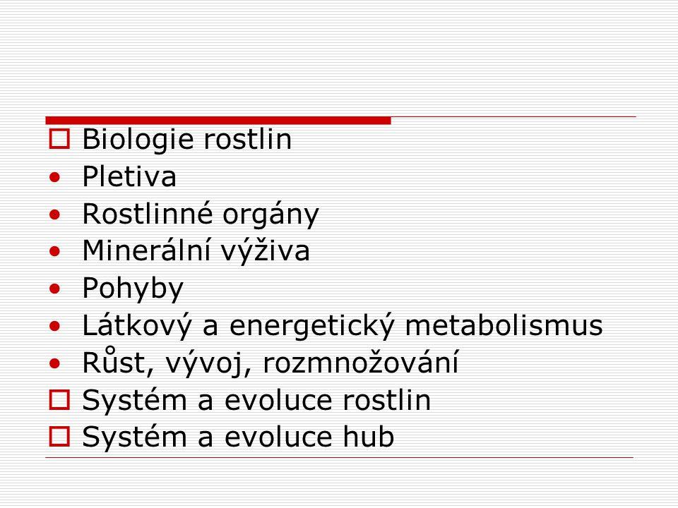 Biologie rostlin Pletiva. Rostlinné orgány. Minerální výživa. Pohyby. Látkový a energetický metabolismus.