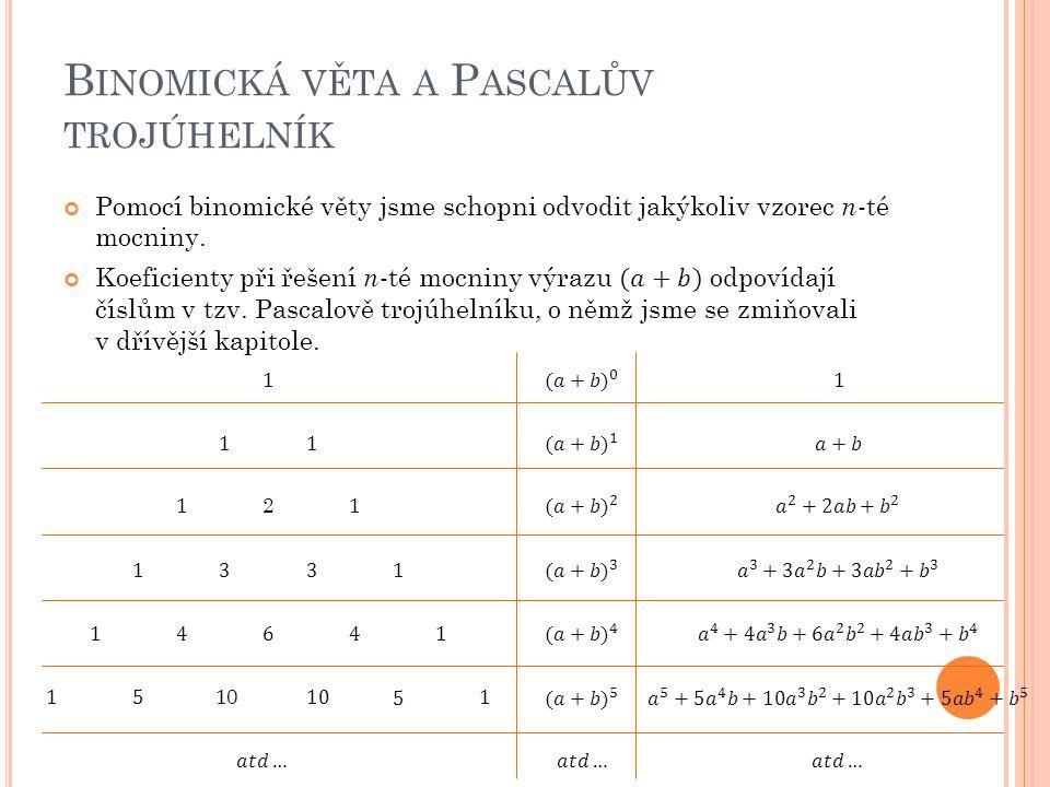Binomická věta a Pascalův trojúhelník