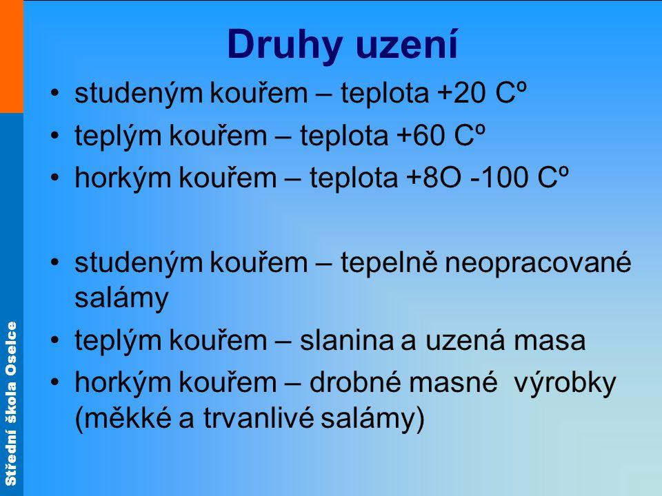 Druhy uzení studeným kouřem – teplota +20 Cº