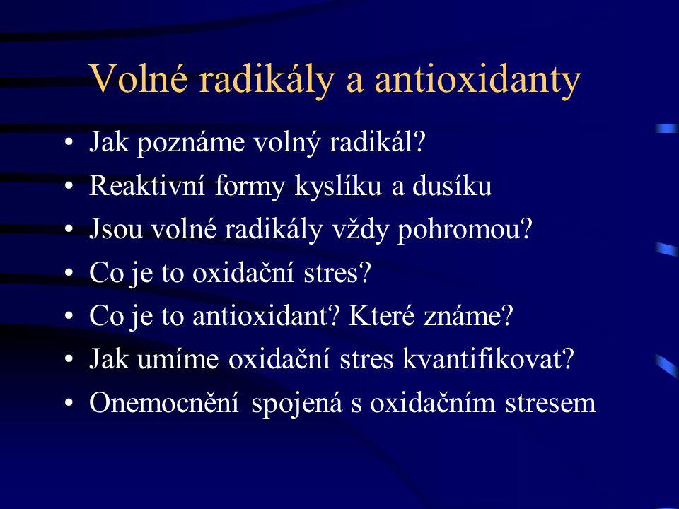 Volné radikály a antioxidanty