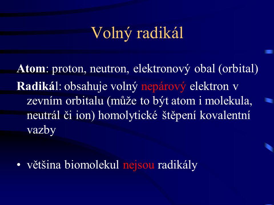 Volný radikál Atom: proton, neutron, elektronový obal (orbital)