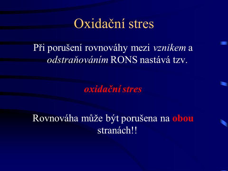 Oxidační stres Při porušení rovnováhy mezi vznikem a odstraňováním RONS nastává tzv. oxidační stres.