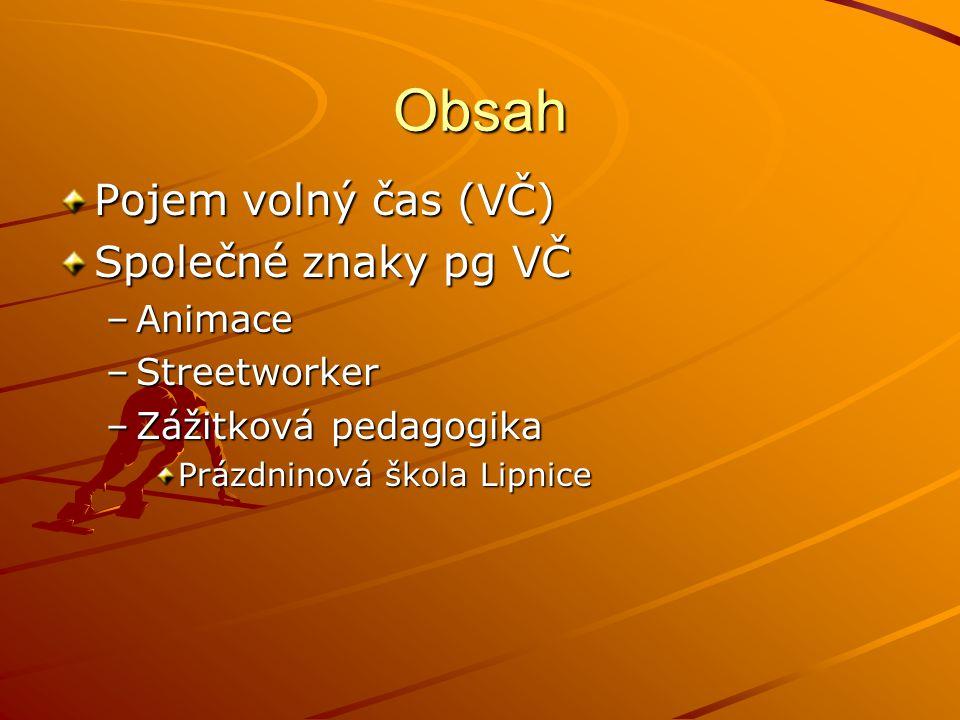 Obsah Pojem volný čas (VČ) Společné znaky pg VČ Animace Streetworker