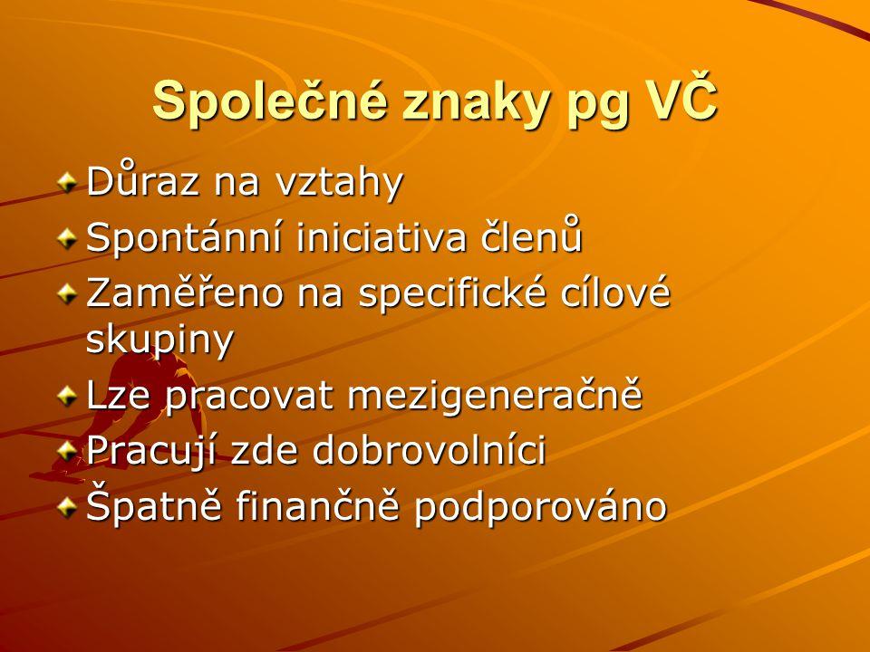 Společné znaky pg VČ Důraz na vztahy Spontánní iniciativa členů