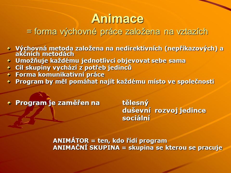 Animace = forma výchovné práce založena na vztazích