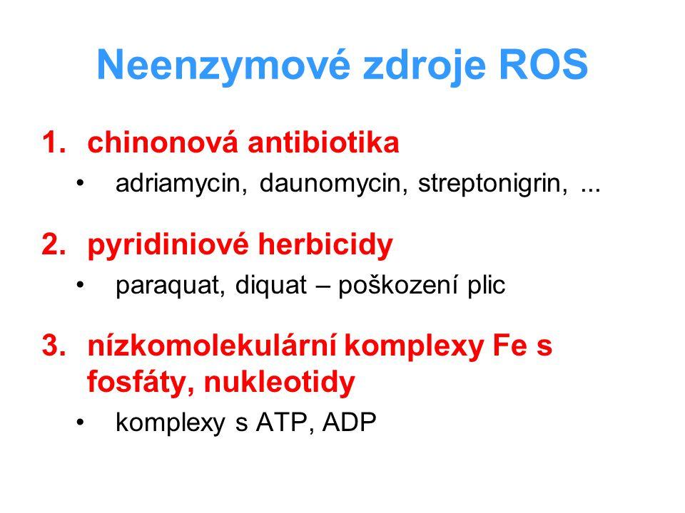 Neenzymové zdroje ROS chinonová antibiotika pyridiniové herbicidy
