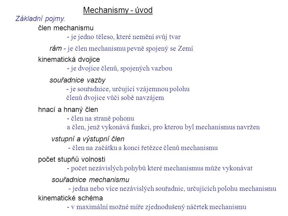Mechanismy - úvod Dynamika I, 8. přednáška Základní pojmy.