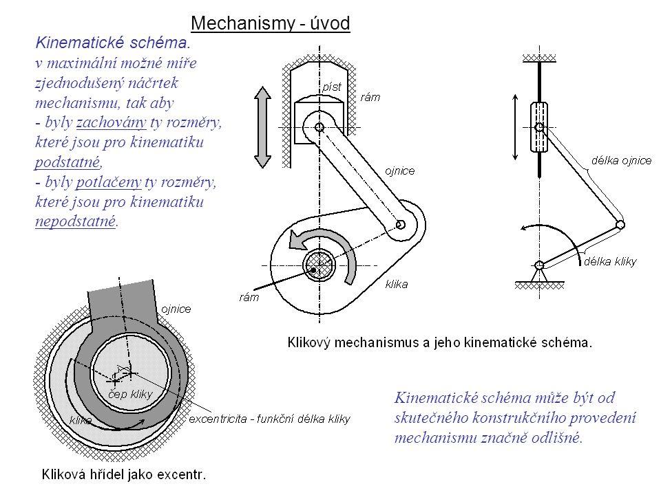Mechanismy - úvod Dynamika I, 8. přednáška Kinematické schéma.
