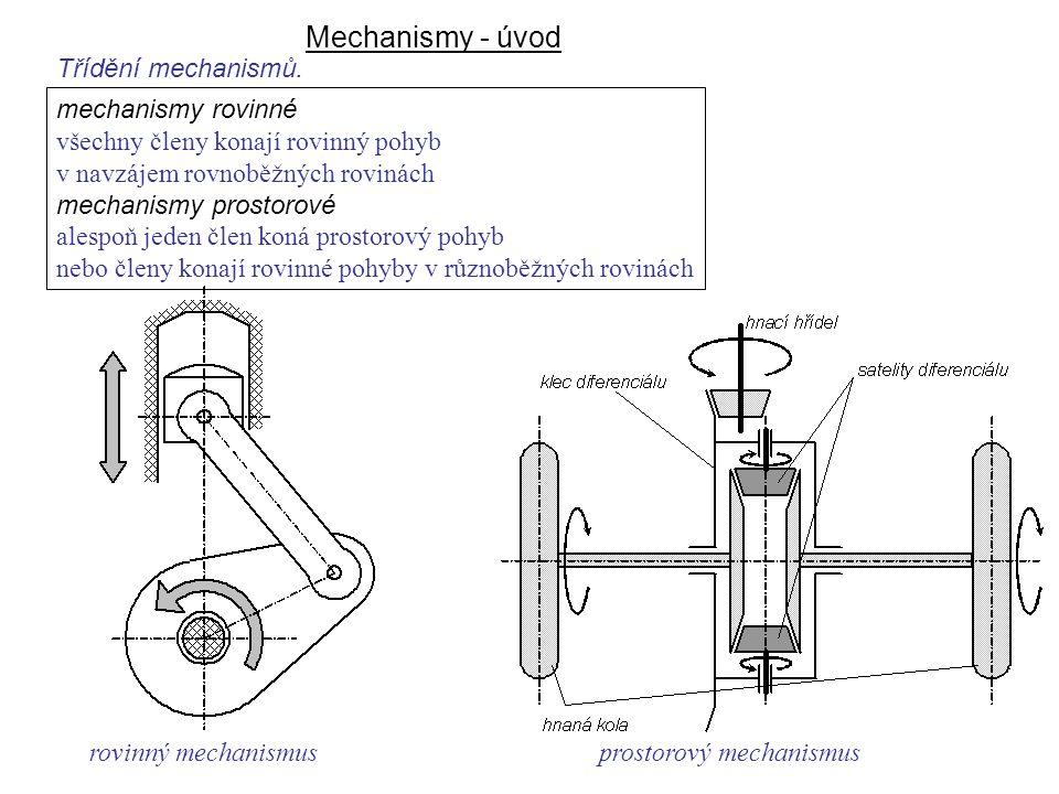 Mechanismy - úvod Dynamika I, 8. přednáška Třídění mechanismů.