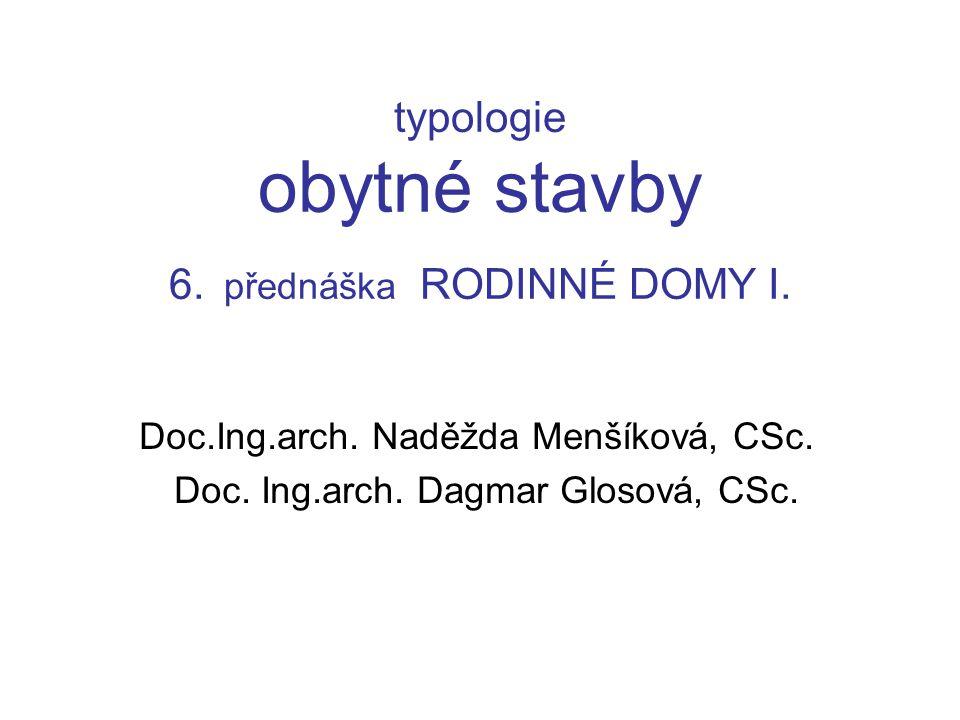 typologie obytné stavby 6. přednáška RODINNÉ DOMY I.