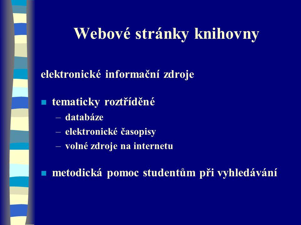 Webové stránky knihovny
