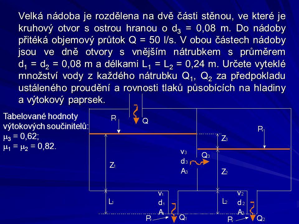 Velká nádoba je rozdělena na dvě části stěnou, ve které je kruhový otvor s ostrou hranou o d3 = 0,08 m. Do nádoby přitéká objemový průtok Q = 50 l/s. V obou částech nádoby jsou ve dně otvory s vnějším nátrubkem s průměrem d1 = d2 = 0,08 m a délkami L1 = L2 = 0,24 m. Určete vyteklé množství vody z každého nátrubku Q1, Q2 za předpokladu ustáleného proudění a rovnosti tlaků působících na hladiny a výtokový paprsek.