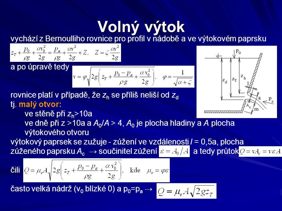 Volný výtok vychází z Bernoulliho rovnice pro profil v nádobě a ve výtokovém paprsku. a po úpravě tedy.
