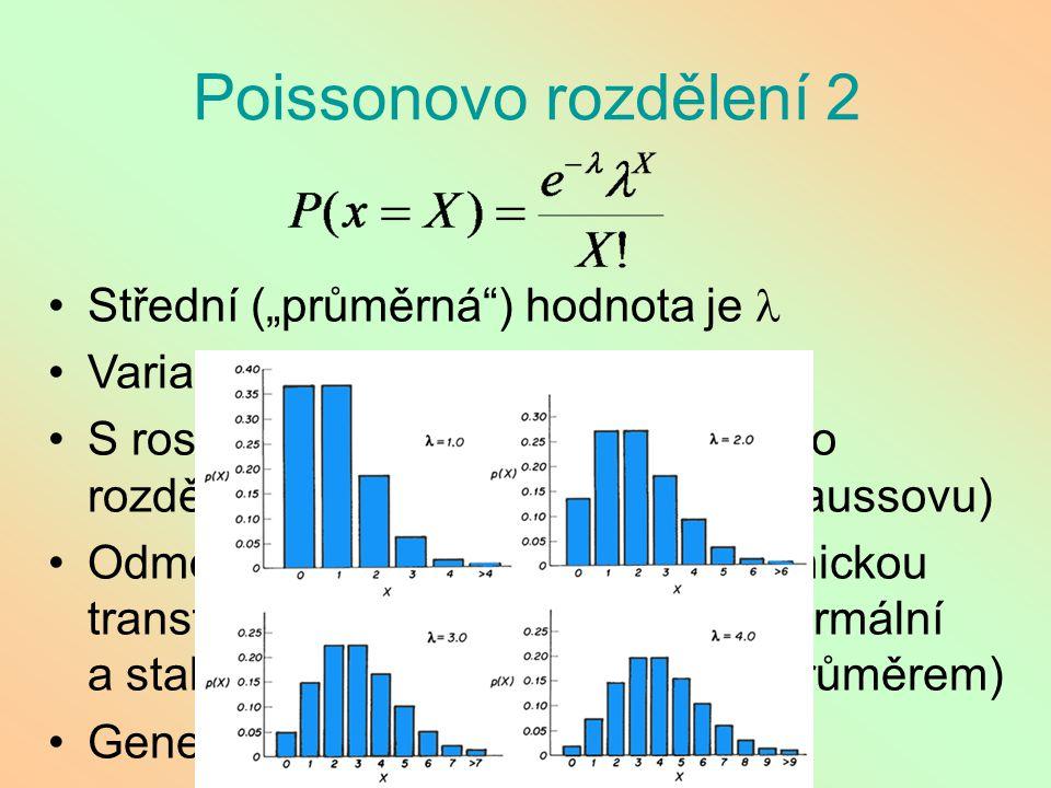 """Poissonovo rozdělení 2 Střední (""""průměrná ) hodnota je l"""