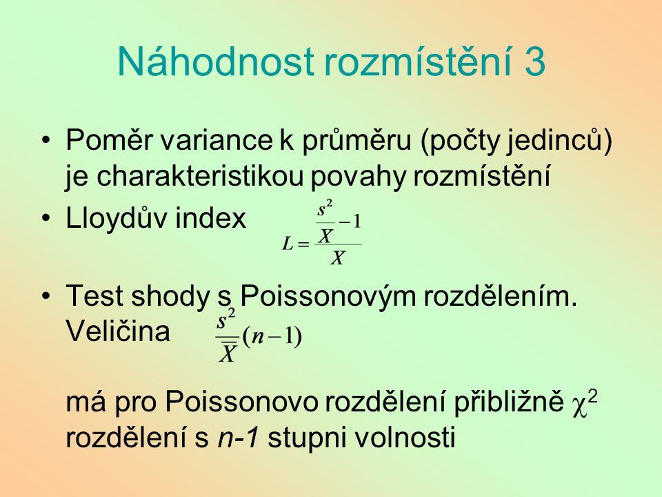 Náhodnost rozmístění 3 Poměr variance k průměru (počty jedinců) je charakteristikou povahy rozmístění.