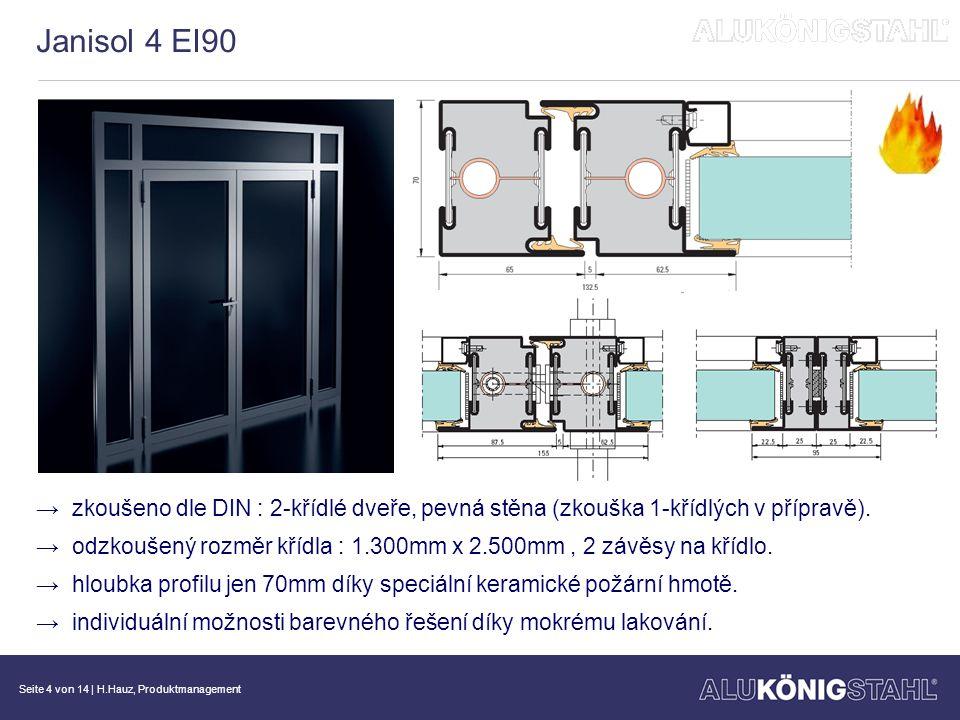 Janisol 4 EI90 zkoušeno dle DIN : 2-křídlé dveře, pevná stěna (zkouška 1-křídlých v přípravě).