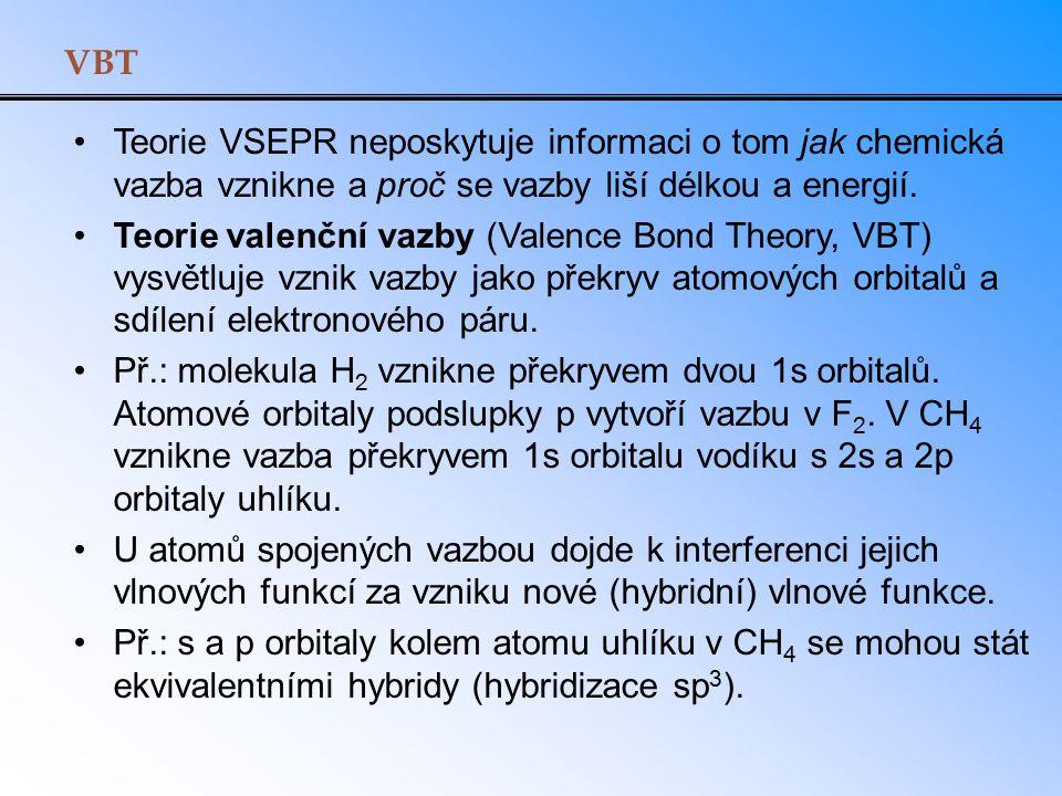 VBT Teorie VSEPR neposkytuje informaci o tom jak chemická vazba vznikne a proč se vazby liší délkou a energií.