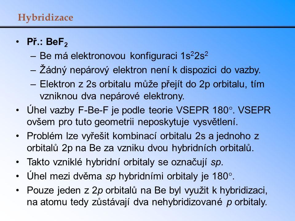Hybridizace Př.: BeF2. Be má elektronovou konfiguraci 1s22s2. Žádný nepárový elektron není k dispozici do vazby.