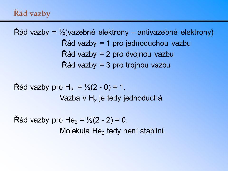 Řád vazby Řád vazby = ½(vazebné elektrony – antivazebné elektrony) Řád vazby = 1 pro jednoduchou vazbu.