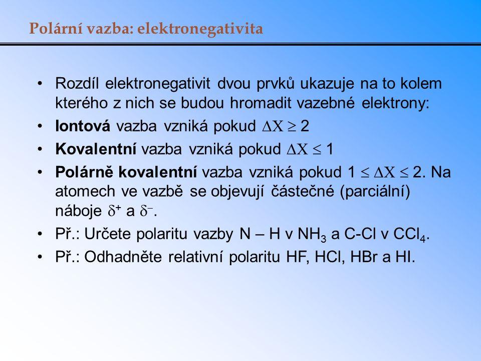 Polární vazba: elektronegativita