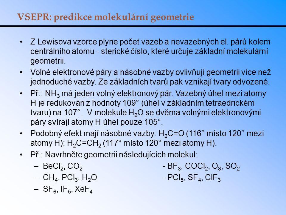 VSEPR: predikce molekulární geometrie