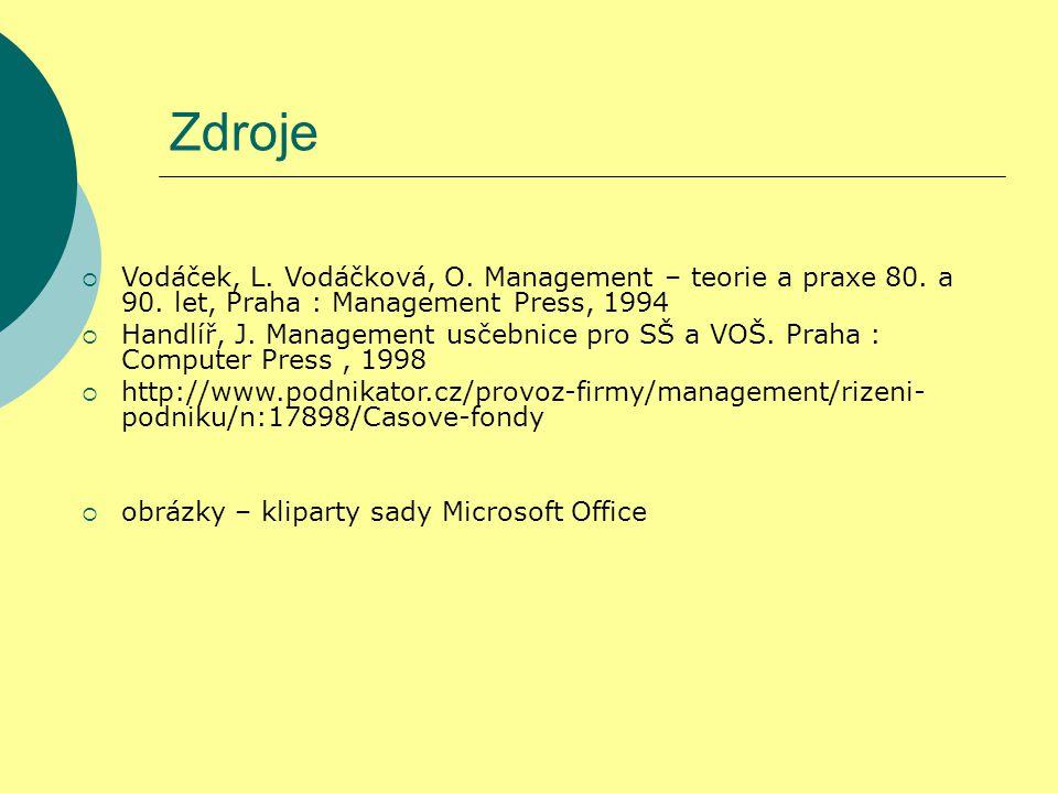 Zdroje Vodáček, L. Vodáčková, O. Management – teorie a praxe 80. a 90. let, Praha : Management Press, 1994.