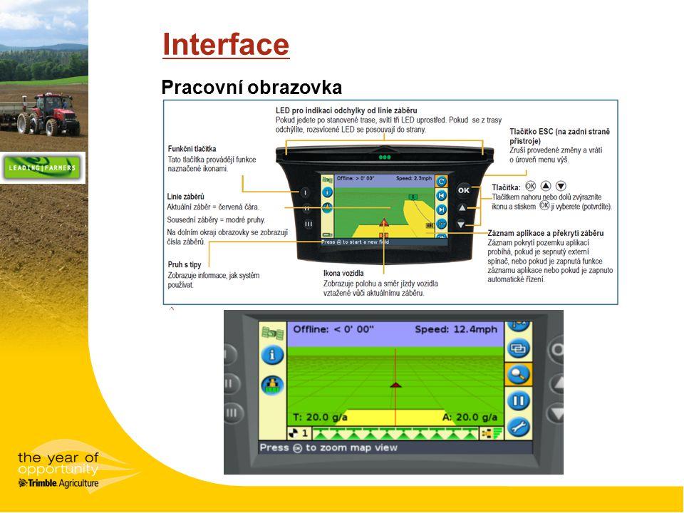 Interface Pracovní obrazovka