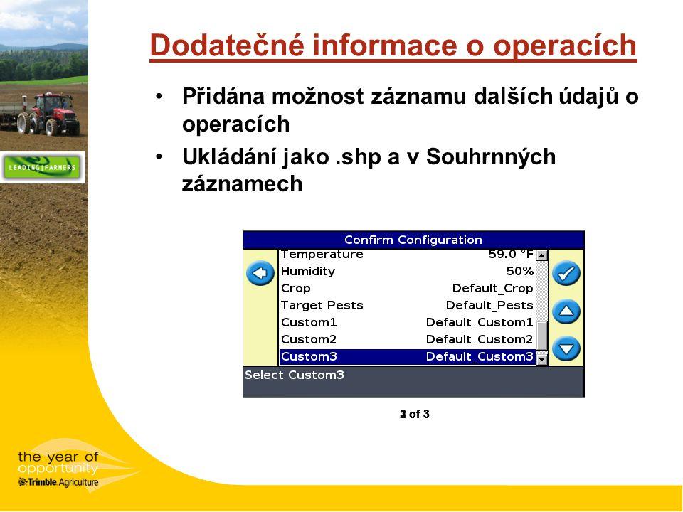 Dodatečné informace o operacích