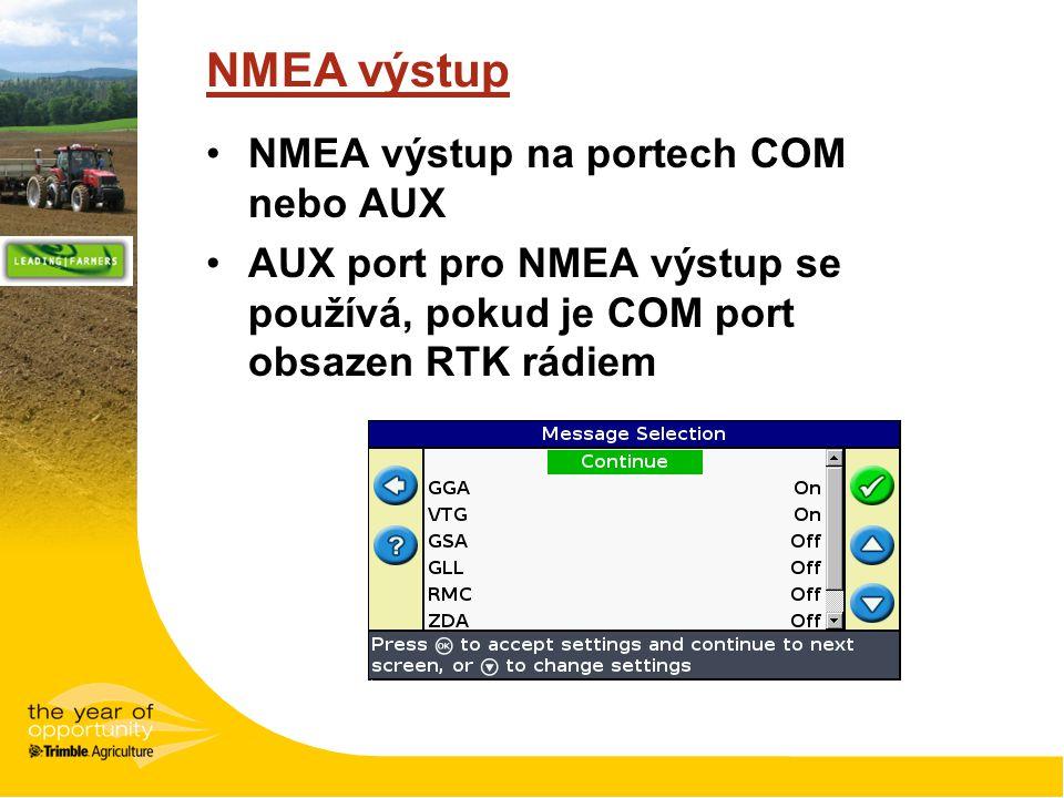 NMEA výstup NMEA výstup na portech COM nebo AUX