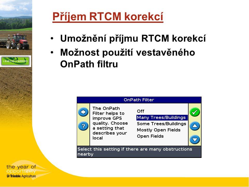 Příjem RTCM korekcí Umožnění příjmu RTCM korekcí