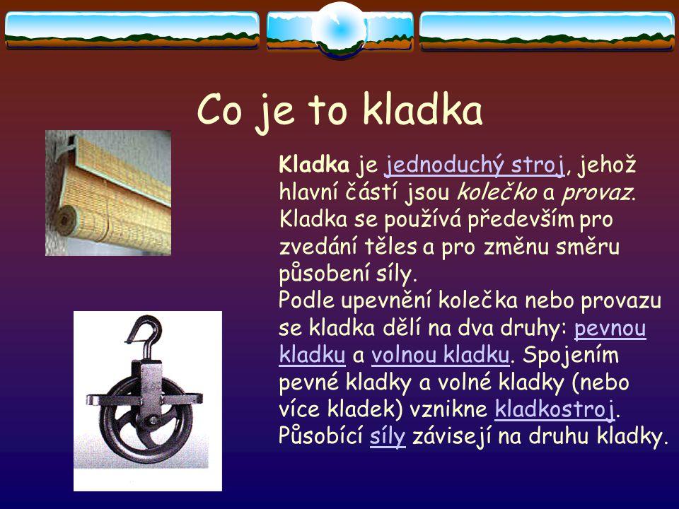 Co je to kladka Kladka je jednoduchý stroj, jehož hlavní částí jsou kolečko a provaz.