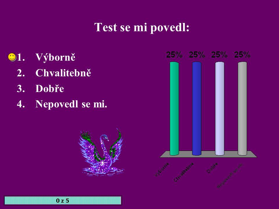 Test se mi povedl: Výborně Chvalitebně Dobře Nepovedl se mi. 0 z 5