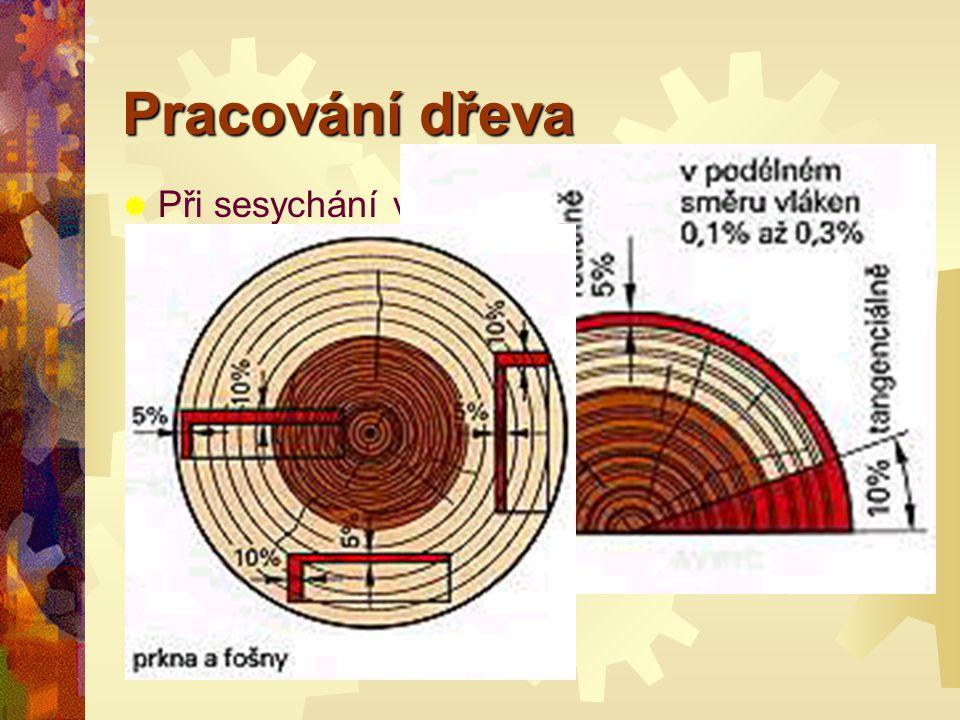 Pracování dřeva Při sesychání ve směru vláken :