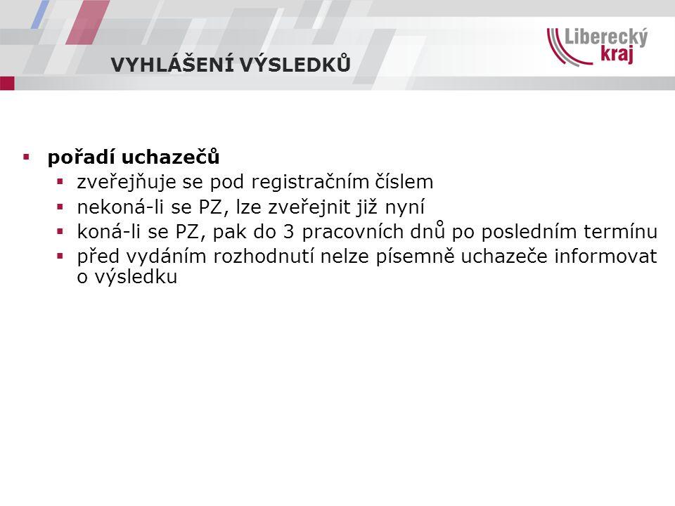 VYHLÁŠENÍ VÝSLEDKŮ pořadí uchazečů. zveřejňuje se pod registračním číslem. nekoná-li se PZ, lze zveřejnit již nyní.