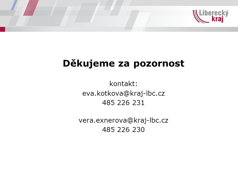 Děkujeme za pozornost kontakt: eva.kotkova@kraj-lbc.cz.