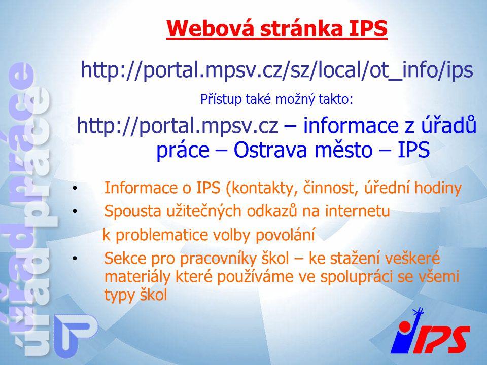 http://portal.mpsv.cz – informace z úřadů práce – Ostrava město – IPS