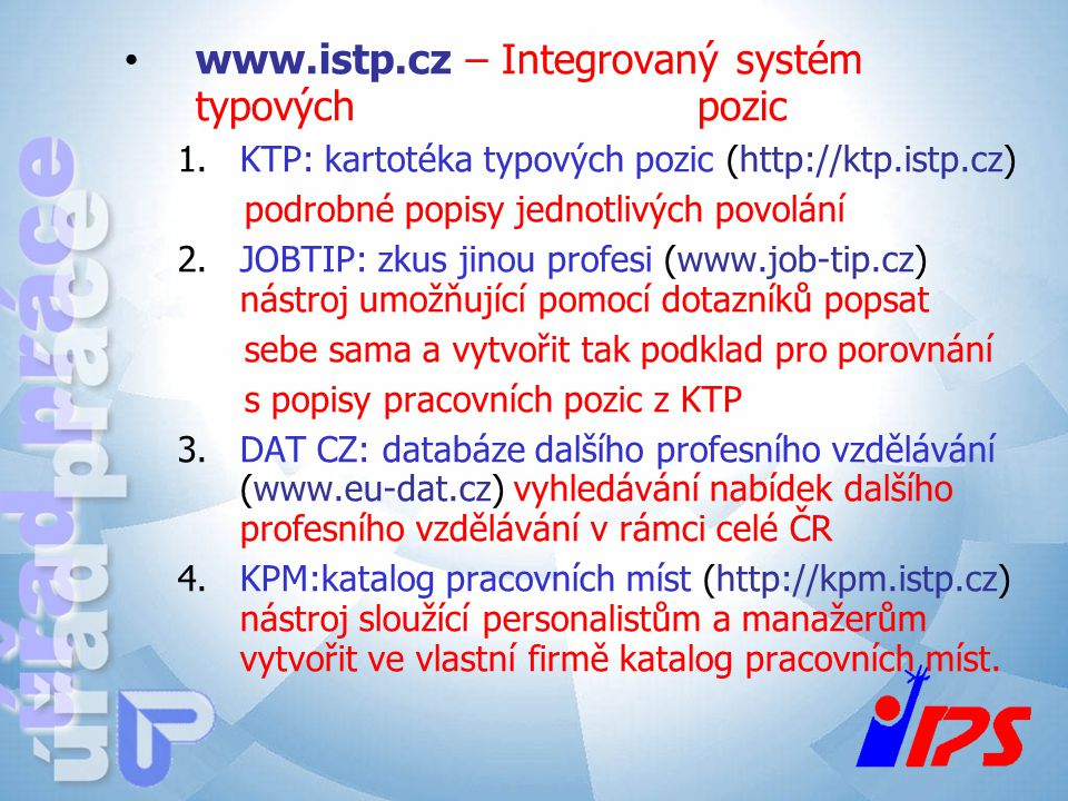 www.istp.cz – Integrovaný systém typových pozic
