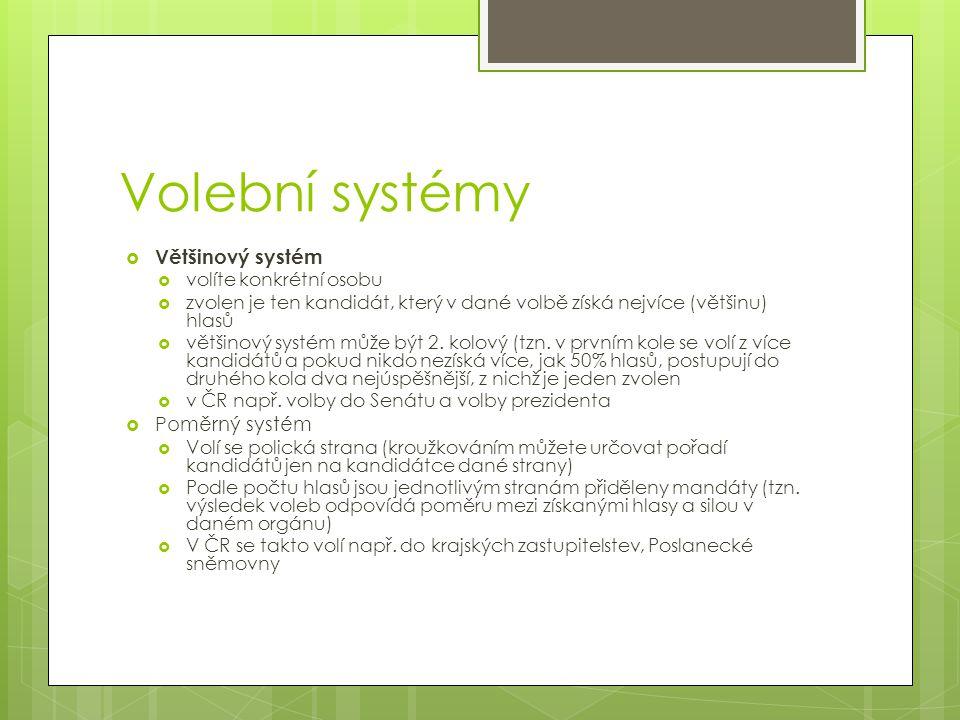 Volební systémy Většinový systém Poměrný systém volíte konkrétní osobu