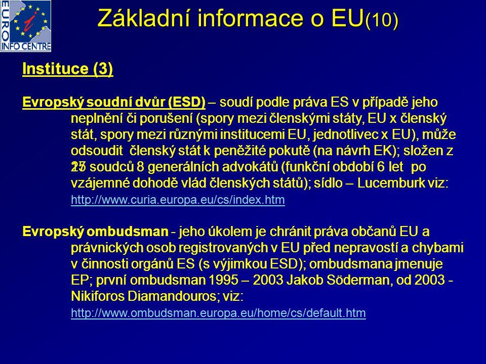 Základní informace o EU(10)