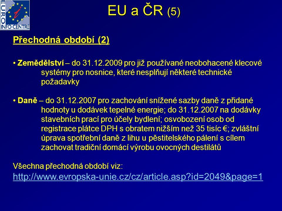 EU a ČR (5) Přechodná období (2)