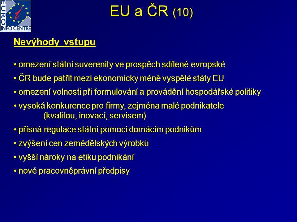 EU a ČR (10) Nevýhody vstupu