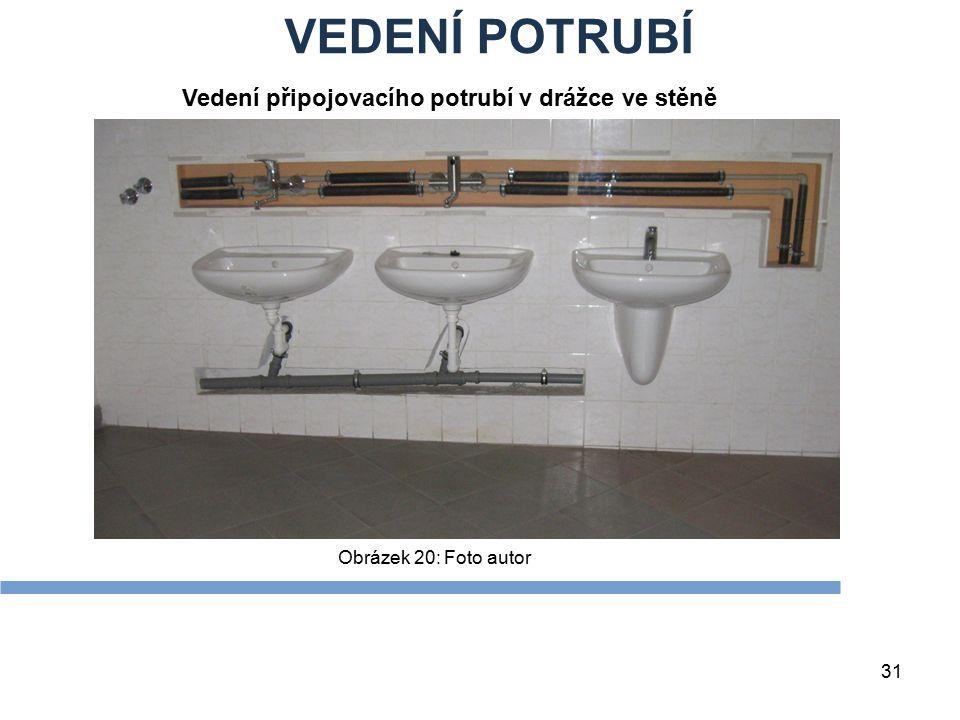 VEDENÍ POTRUBÍ Vedení připojovacího potrubí v drážce ve stěně