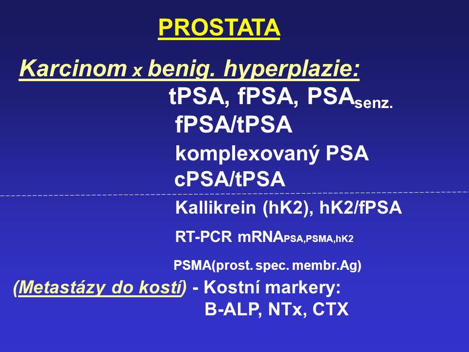 Karcinom x benig. hyperplazie: tPSA, fPSA, PSAsenz. fPSA/tPSA