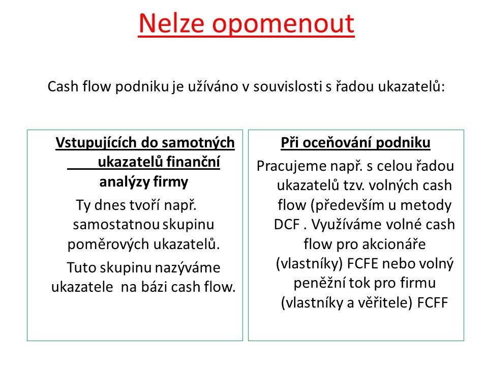 Nelze opomenout Cash flow podniku je užíváno v souvislosti s řadou ukazatelů: