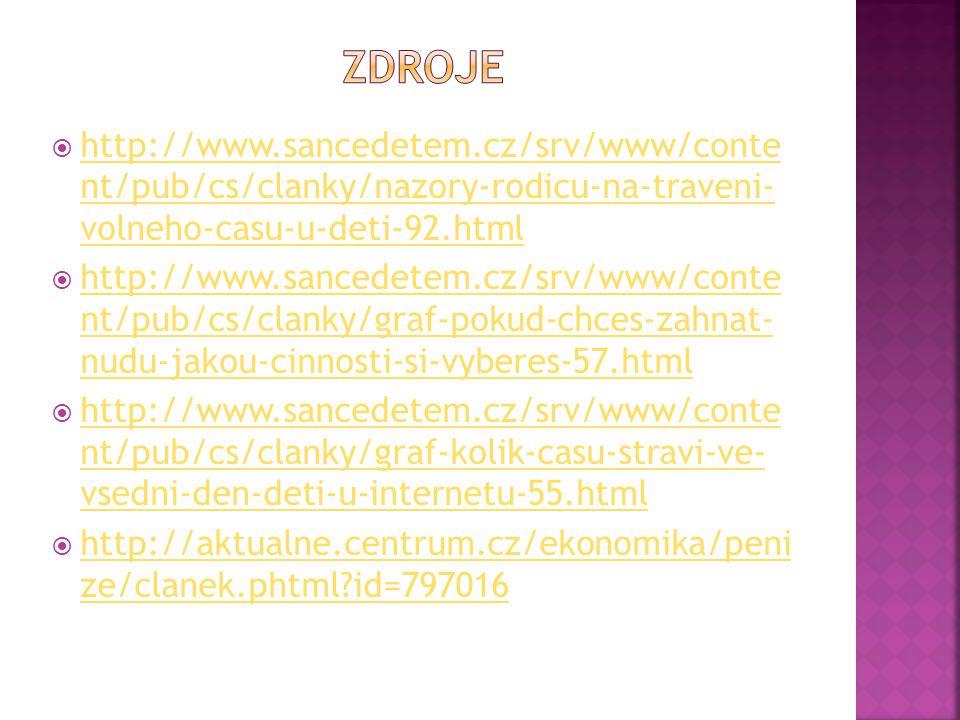 zdroje http://www.sancedetem.cz/srv/www/conte nt/pub/cs/clanky/nazory-rodicu-na-traveni- volneho-casu-u-deti-92.html.
